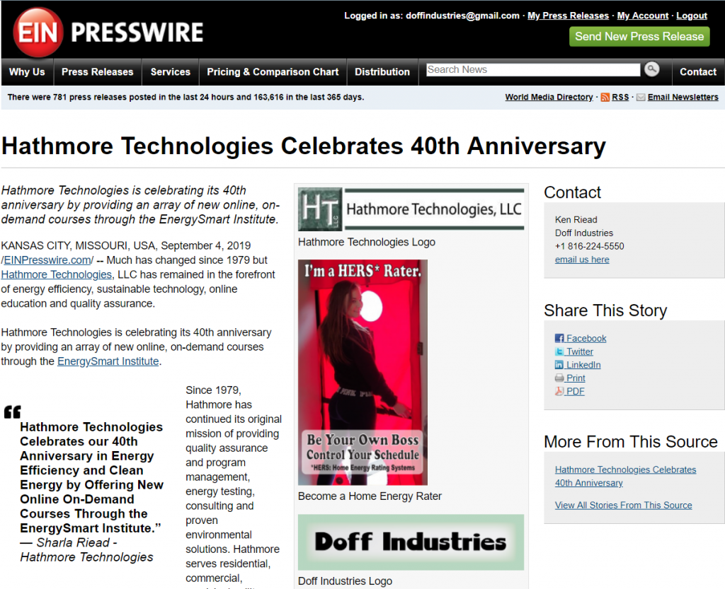 Hathmore Technologies 40th Anniversary Press Release September 2019